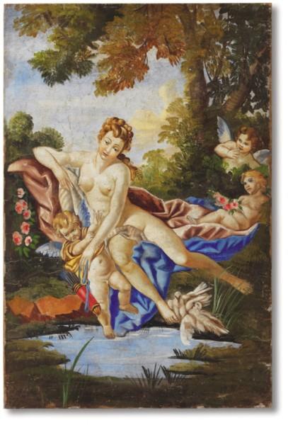 """Un affresco firmato Mariani ispirato a """"Venere consola Amore"""" Boucher (1703-1770)"""