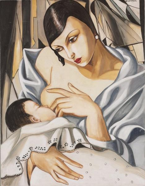 """La maternità in un affresco di Mariani affreschi che riprende il dipinto """"Mère enfant"""" di Tamara de Lempicka (1898-1980)"""