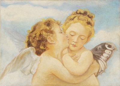 """Una scena molto tenera e uno dei soggetti più amati, gli Amorini, un particolare de """"Il primo bacio"""" di Adolphe William Bouguereau"""