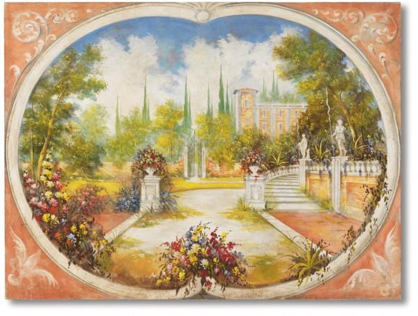 Villa con parco, un affresco di paesaggio firmato Mariani Affreschi