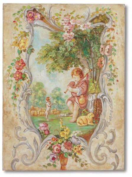 """Decorazioni floreali e sognanti in un affresco Mariani che prende spunto dai """"fanciulli"""" del Boucher"""