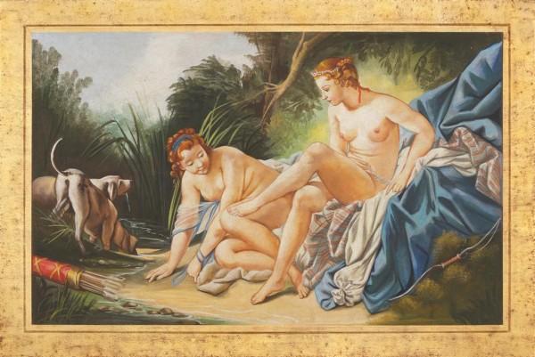 Un affresco suggestivo e seducente realizzato dai Maestri d'Arte di Mariani ispirato alla Diana al bagno del Boucher