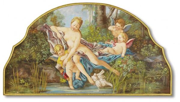 Un soggetto amatissimo del Boucher (1703-1770), Venere consola Amore, in un affresco firmato Mariani