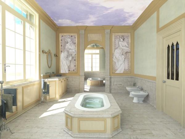 Affreschi liberty in un bagno di altissimo livello, by Mariani Affreschi. Progetto realizzato dell'arch. Alessandro Dotti