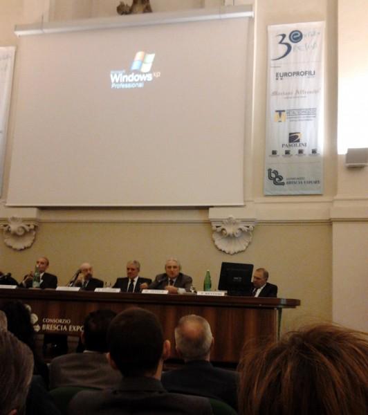 L'intervento di Marco Vitale durante la conferenza organizzata da Brescia Export a cui ha partecipato anche Mariani Affreschi