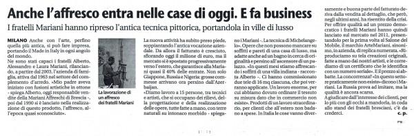 Un articolo pubblicato sul Giornale di Brescia testimonia l'unicità di Mariani Affreschi, azienda leader nella realizzazione degli affreschi.