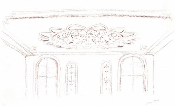 La scenografia di un appartamento arredato con la cupola affrescata Mariani