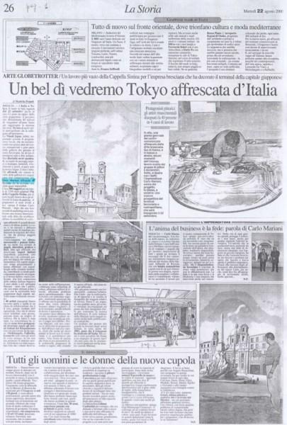 Un articolo pubblicato sul quotidiano Il Giorno sullo straordinario progetto di Mariani Affreschi a Yokohama in Giappone