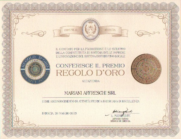 """Premio """"Regolo d'Oro"""" conferito alla Mariani Affreschi"""