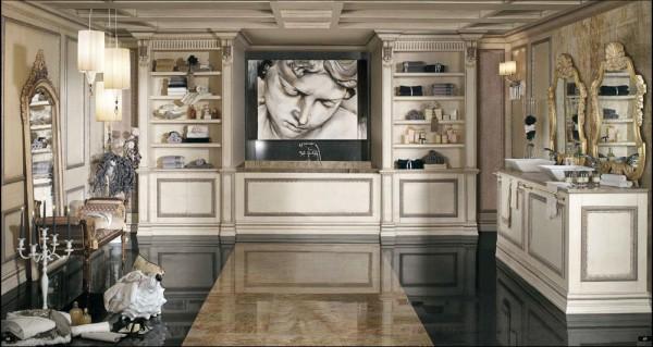 In una sala bagno da sogno, ad allietare il benessere quotidiano un volto classico della collezione Arte Mariani