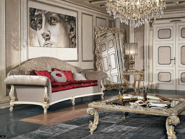 Un affresco ispirato al David di Michelangelo arreda scenograficamente lo spazio elegante e raffinato firmato Fratelli Bianchini