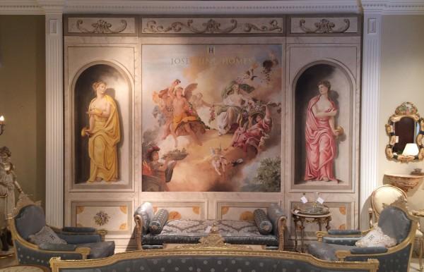 L'affresco realizzato dai maestri Mariani e ambientato nello showroom Josephine Homes di San Francisco