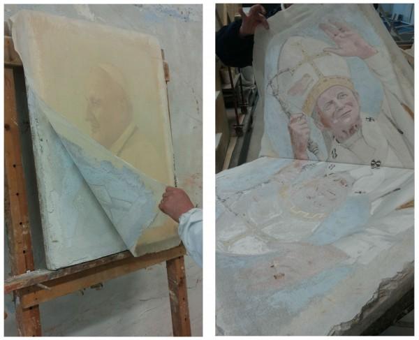 """Quando la colla è asciutta, si può strappare l'affresco. La pellicola murale resta incollata alla tela e si vede """"al negativo"""""""