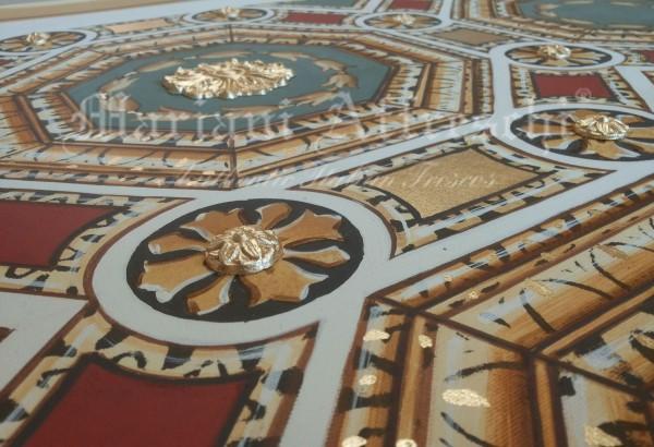 Un particolare della decorazione in foglia oro