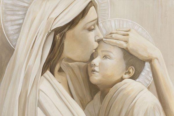 Un gesto affettuoso tra madre e figlio: tutta la dolcezza di una speciale maternità in un affresco Mariani