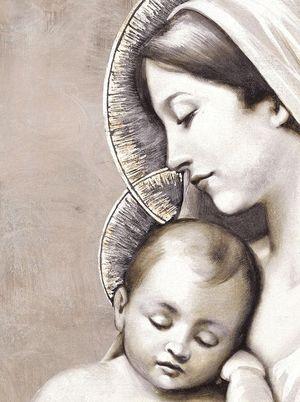 Un particolare della maternità. Sono gli artisti Mariani che realizzano su misura opere uniche per occasioni speciali