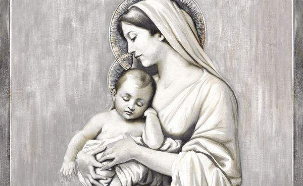 Una maternità più classica in un affresco: come finiture si può applicare per esempio la decorazione in foglia oro o argento