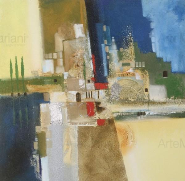 I colori dei paesaggi italiani e del mediterraneo si ritrovano in quest'opera astratta, Verdi sentinelle, una nuova proposta delle collezioni Mariani