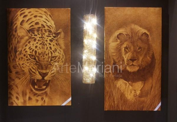 """Due opere inedite della collezione Animalier di ArteMariani: """"Ghepardo"""" e """"Leone"""", entrambi in versione foglia oro"""