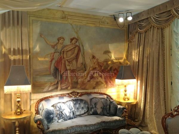 Классический сюжет, навеянный сценами из жизни древних городов Тьеполо и Верона. На этой фотографии наши фрески украшают гостиную Barnini Oseo на выставке Salone del Mobile