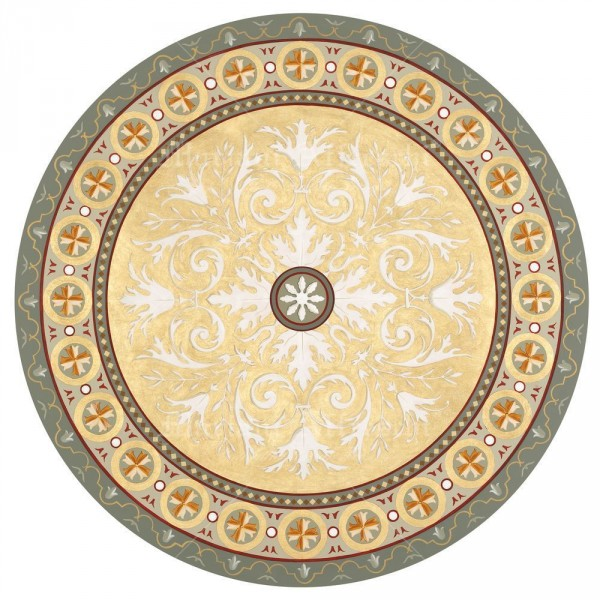 Un' immagine frontale del rosone decorativo ornamentale, prima di essere applicato al soffitto della villa. L'opera è stata realizzata con grande meticolosità dagli artisti di Mariani