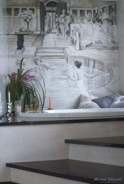 Un angolo di relax reso unico dalla bellezza dell'affresco. L'opera è resistente all'acqua e all'umidità, quindi adatta a qualsiasi ambiente bagno