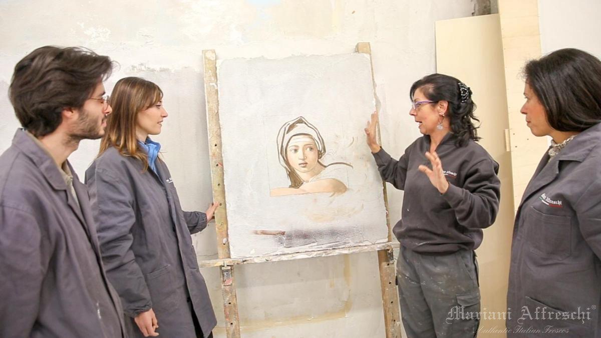 Un momento del corso di pittura ad affresco (Mariani Affreschi Academy)