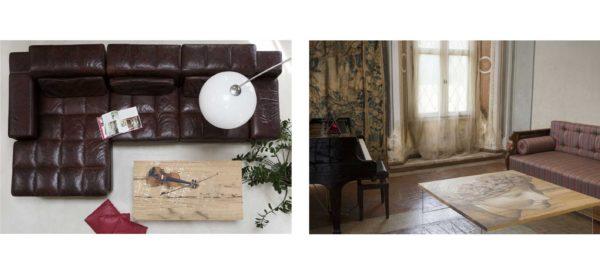Tavolino da salotto rettangolare e quadrato con base in cristallo-Mariani Affreschi