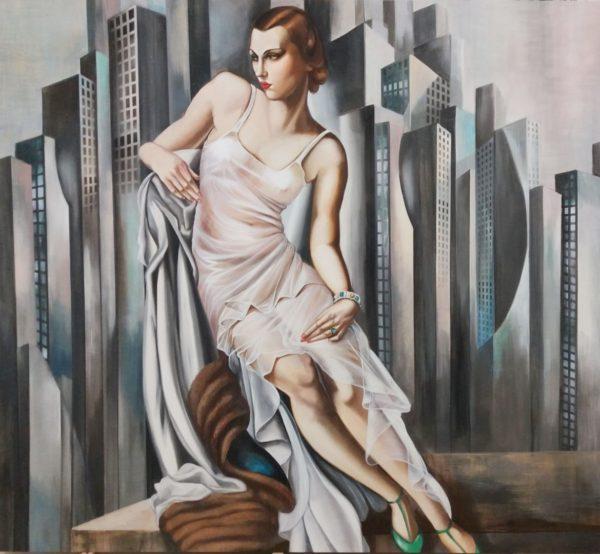 Affresco ispirato all'opera Portrait de madame Allan Bott – Tamara de Lempicka