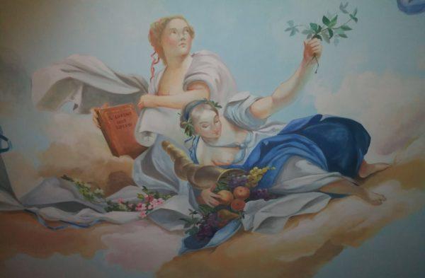 """L'affresco dipinto in sala è stato ispirato all' """"Allegoria della vita umana"""", presente a Palazzo Reale (Torino)"""