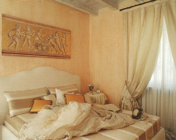 Paintings frescoes on canvas for a master bedroom